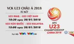 Tứ kết U23 châu Á 2018, ngày 20/01: U23 Iraq - U23 Việt Nam, U23 Hàn Quốc - U23 Malaysia