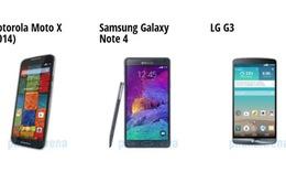 Chọn Moto X (2014), Galaxy Note 4 hay LG G3?