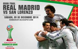 """Real Madrid - San Lorenzo: Quà Giáng sinh cho """"Kền kền trắng"""""""