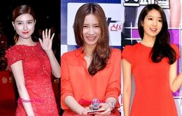 Sao Hàn rạng rỡ với trang phục tông màu đỏ
