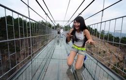 Rợn người đi trên cây cầu kính dài nhất thế giới