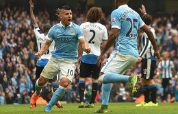 Aguero ghi 5 bàn trong 20 phút, Man City vùi dập Newcastle với tỷ số 6-1