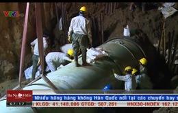 Khắc phục xong sự cố vỡ đường ống nước sông Đà