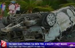 """Bến Tre: Xe cấp cứu """"đụng"""" xe máy khiến 2 người thiệt mạng"""