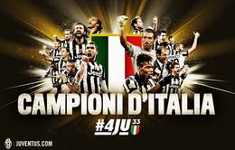 Juventus chính thức giành danh hiệu Scudetto thứ 4 liên tiếp