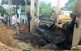Quảng Trị: Cháy lớn thiêu rụi xưởng chế biến chất đốt