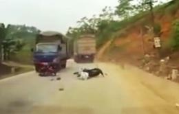 Vượt ẩu, xe máy kẹp giữa 2 xe tải
