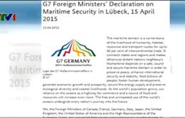 Ngoại trưởng G7 ra tuyên bố về an ninh hàng hải