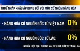 Thuế suất hàng hóa nhập khẩu từ Lào là 0%
