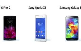 So sánh nhanh G Flex 2, Xperia Z3, Galaxy S5