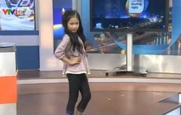 Mẫu nhí quốc tế Hà Thiên Trang tự tin trên trường quay VTV
