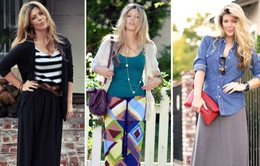 Dịu dàng với váy maxi trong mùa Thu