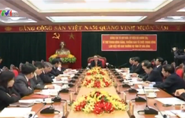 Đồng chí Tô Huy Rứa làm việc với Ban Thường vụ Tỉnh ủy Hòa Bình