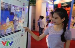 Gian hàng của VTV gây ấn tượng mạnh với khách tham quan triển lãm