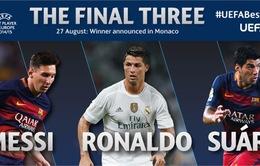 Messi, Ronaldo và Suarez tranh giải Cầu thủ xuất sắc nhất châu Âu