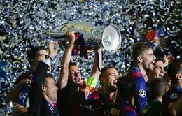 Sao Barca nhảy tưng bừng ăn mừng chức vô địch Champions League 2014/15