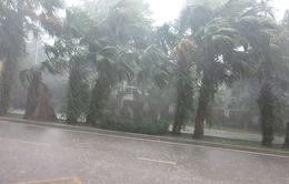 Áp thấp nhiệt đới suy yếu, gây mưa dông mạnh tại nhiều nơi