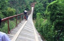 Lật cầu treo tại Lào, hơn 50 người rơi xuống sông
