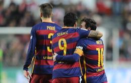 Thắng nhàn Gijon, Barcelona độc chiếm ngôi đầu La Liga