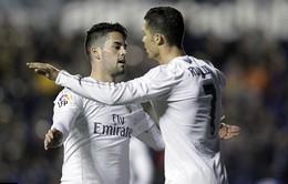 Levante 1-3 Real Madrid: Ronaldo cởi bỏ áp lực cho HLV Zidane
