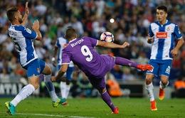Espanyol 0-2 Real Madrid: Benzema và Rodriguez lập công, Real trở lại ngôi đầu