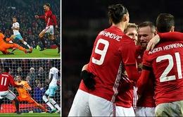 VIDEO: Ibra & Martial tỏa sáng, Man Utd thắng ấn tượng West Ham