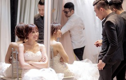 Cận cảnh trang phục cưới sang trọng và gợi cảm của Hari Won