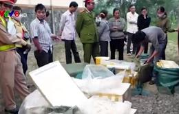 Phát hiện xe chở 175 kg thịt bốc mùi thối dùng để nấu cỗ cướiở Gia Lai