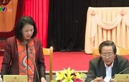 Đồng chí Trương Thị Mai làm việc tại Quảng Bình