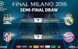 Bốc thăm bán kết Champions League: Real Madrid đại chiến Man City