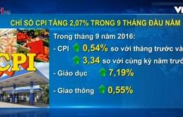 Chỉ số giá tiêu dùng tăng hơn 2% trong 9 tháng đầu năm