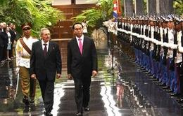 Chủ tịch nước Trần Đại Quang hội đàm Chủ tịch Cuba Raul Castro