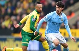 Bị Norwich kìm chân, Man City nguy cơ bật bãi khỏi top 4