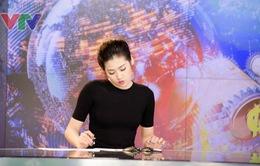 Á hậu Tú Anh hào hứng dẫn thử bản tin Tài chính Kinh doanh