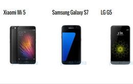 So sánh nhanh Xiaomi Mi 5, Galaxy S7 và LG G5