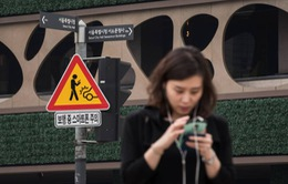 """Hàn Quốc: Lắp đặt tín hiệu giao thông cho người """"mải"""" dùng điện thoại"""