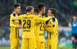 VIDEO, Hoffenheim 2-2 Dortmund: Aubameyang ghi bàn thứ 100, Marco Reus bị đuổi