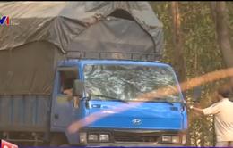 """Cận cảnh """"làm luật"""" giúp xe chở gỗ lậu trót lọt"""