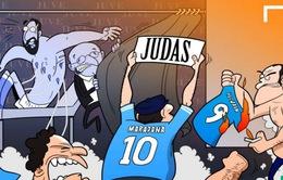 Góc biếm họa: Maradona nặng lời ví hậu bối Higuain là kẻ Judas