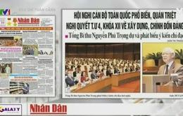 Hội nghị quán triệt Nghị quyết Trung ương 4 lên trang nhất hầu hết các báo