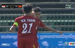 VIDEO U16 Việt Nam: Hữu Thắng đánh đầu nhân đôi cách biệt