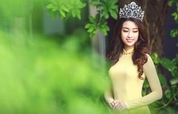 Hoa hậu Mỹ Linh đẹp e ấp trong sắc vàng