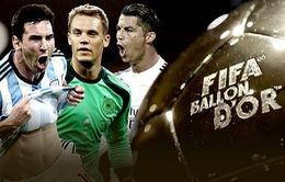 Danh sách rút gọn Quả bóng vàng Fifa 2014: Ronaldo, Messi và Neuer