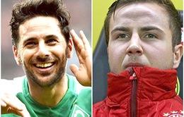00h30 ngày 13/12, Bayern Munich-Bremen: Đối nghịch Goetze - Pizarro