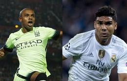 """Manchester City và Real Madrid: Cuộc đối đầu của hai """"gã tiều phu"""" Fernandinho – Casemiro"""