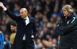 Pellegrini và Zidane hài lòng với trận hòa tại Etihad