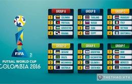 Futsal World Cup 2016: Việt Nam cùng bảng Italia, Paraguay và Guatemala