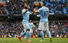 Đại thắng Aston, Man City trở lại cuộc đua vô địch