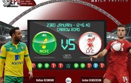 Norwich City – Liverpool: Trở lại sau thất bại derby (19h45, K+1)