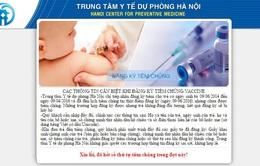 Hà Nội: 3.500 liều vaccine Pentaxim được đăng ký hết trong ít phút